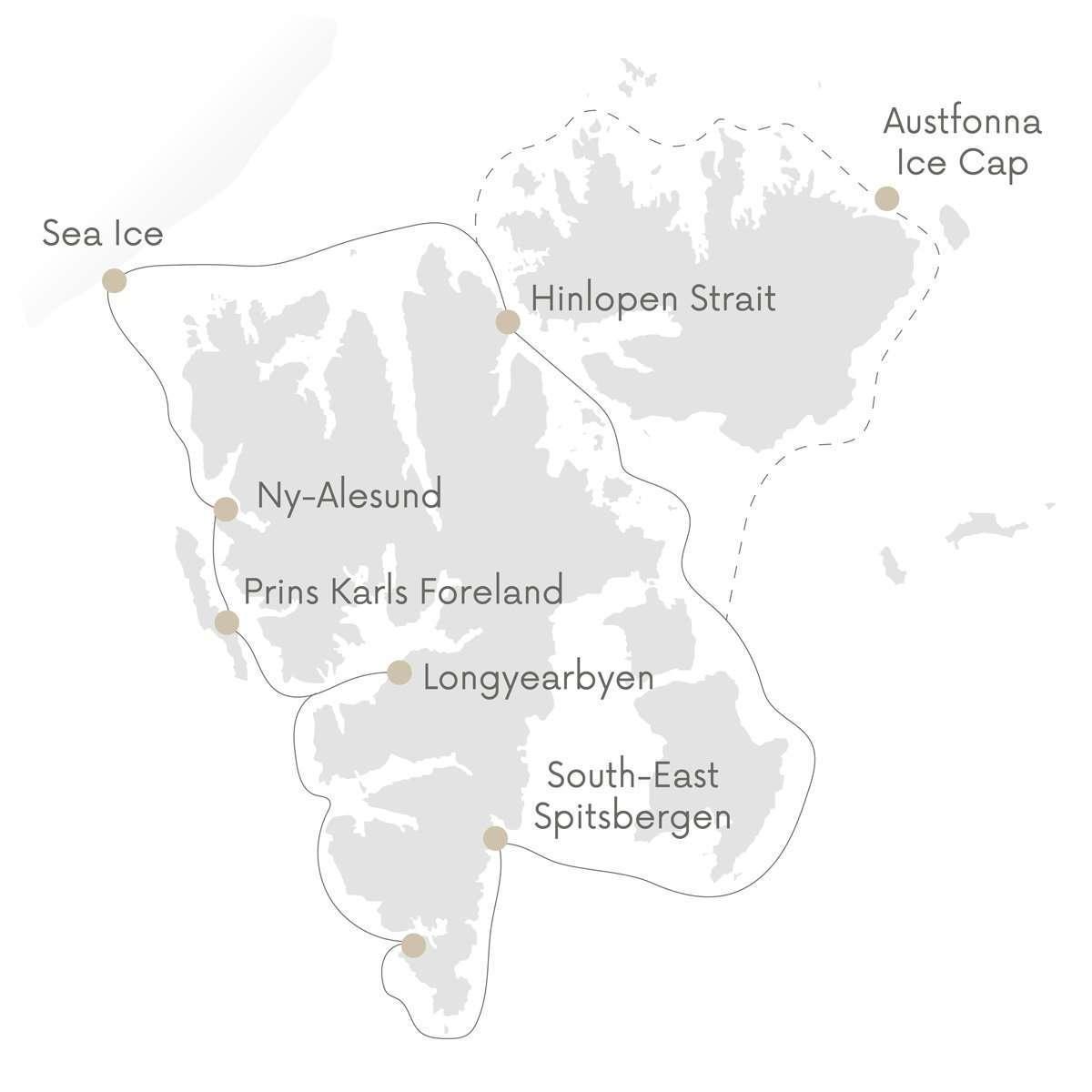 svalbard circumnavigation map